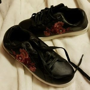 Black w/flower embroidered on side