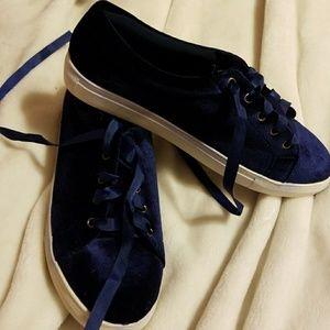 Navy blue velvety, velour sneakers  Nwot
