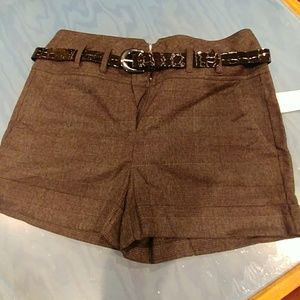 Charcoal belted shorts