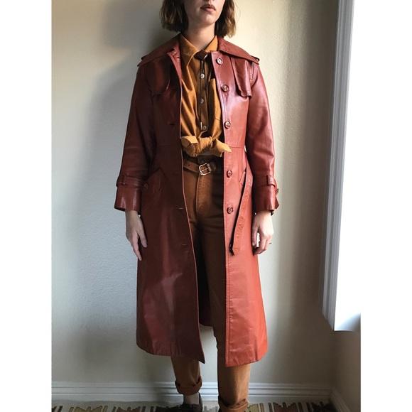 293073c8c Vintage✨{sale} 70s 100% leather trench coat