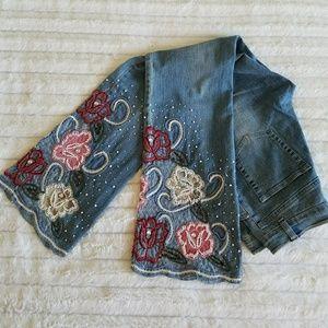 Denim - Vintage bead & pearl embellished jeans GORGEOUS