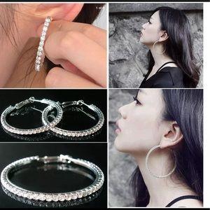 Jewelry - Fashion Silver/Stone Hoop Earrings