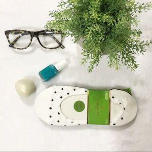 Kate Spade Black Cream Polka Dot Socks Liners Set
