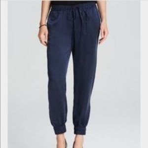 Go Silk Navy Drawstring Joggers L Ankle Zip Pants
