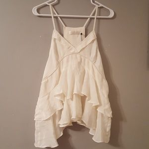 Nwt 100% Silk Ruffle White Top From Miss Me Small