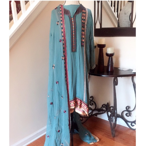 Dresses Charcoal Gray Indian Pakistani Embroidered Dress Poshmark