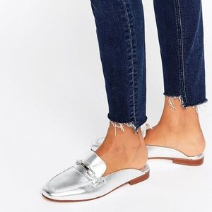 Shoes - Backless Silver Leather Loafers-ASOS-never used!