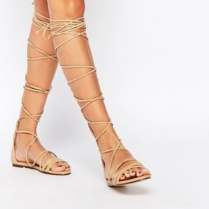 Shoes - Lace-Up Gladiator Flat Sandals- like new