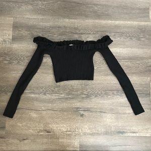 black knit off shoulder crop long sleeve top shirt