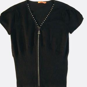 Sweaters - Black Rhinestone Studded Zipper Sweater