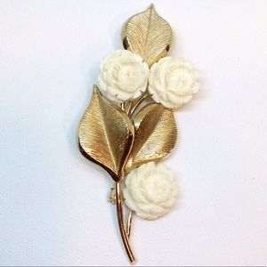 C.R.CO. Signature Ivory Rose Pin Brooch12K Gold