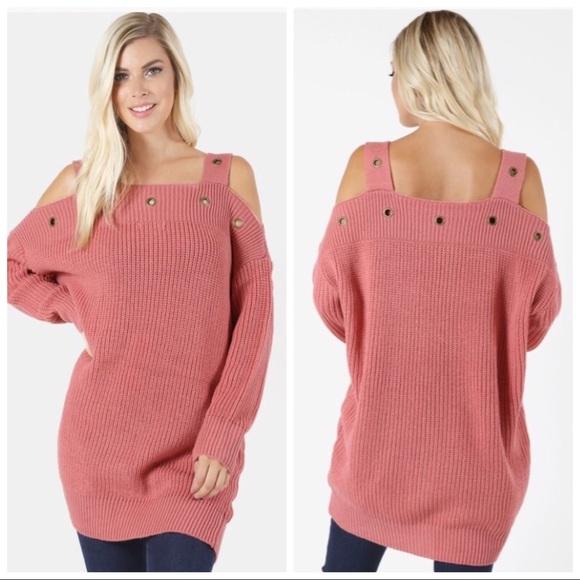 d33887bdc685 Pink Grommet Off Shoulder Tunic Sweater S M L