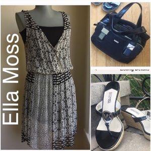 Ella Moss Black to Light Gray Sheer Dress.