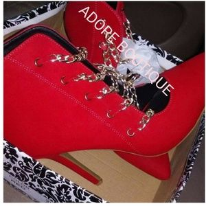 Shoes - RED LEATHER CHAIN BOOTIES