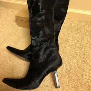 Genuine black Cowhide Leather Knee-high boots