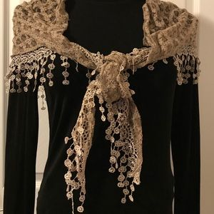 Accessories - FRINGED LACE TAUPE SCARF NWOT