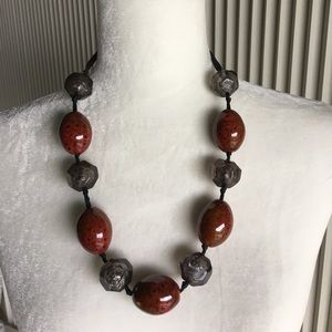 """Jewelry - Vintage Beaded Necklace on Ribbon -24"""""""