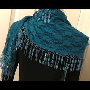 Accessories - TURQUOISE FRINGED LACE SCARF