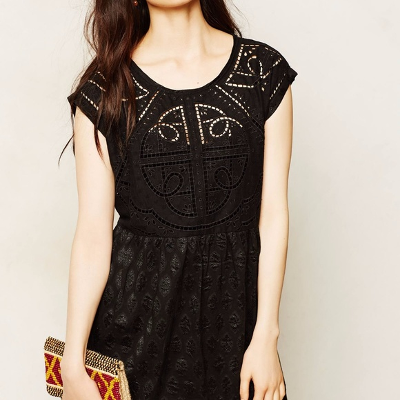2ce114b4fa9d Anthropologie Black Embroidered Cutwork Dress