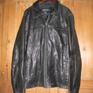Eddie Bauer black leather jacket L Tall