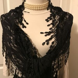 Accessories - BLACK FRINGED LACE SCARF NWOT