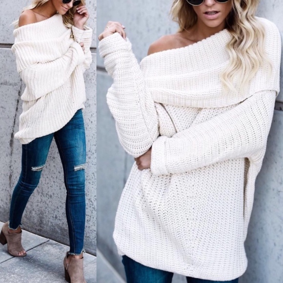 Glamvault Sweaters - Chunky Off the Shoulder Sweater Tunic