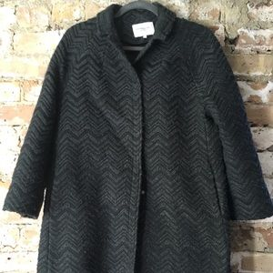 Emerson Fry chevron black charcoal wool blend coat