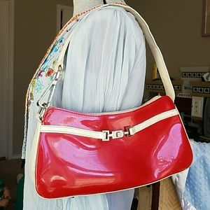 Beijo red and ivory shiny patent purse