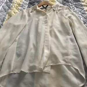 Women's cream colored sheer blouse size M