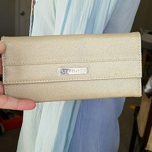 Gold sephora brush wallet clutch holiday