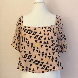 Tucker light pink / nude silk top, size Large