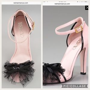Red Valentino Netting & Bow Ankle-Strap Pump