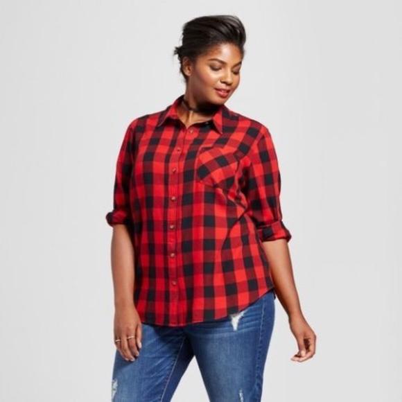 df11ecf1d2849 Ava   Viv Red Buffalo Plaid Button Up Shirt