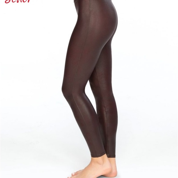1e0d176d74f Spanx faux leather leggings bronze metal small new
