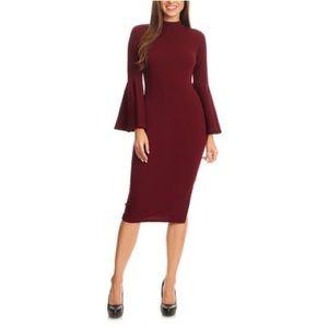 be7e31a748 Nema Avenue Dresses | Burgundy Mock Neck Bell Sleeve Midi Dress ...