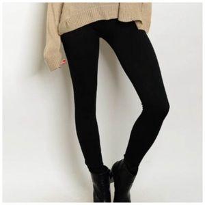 Pants - Black Winter Fabric Thick Leggings