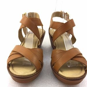 Brown Strap Wedge Heel Sandals 8M Womens Shoes