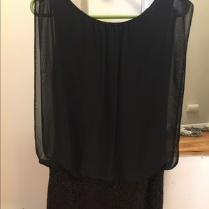 Aidan Mattox Black Sequin Dress with Sheer Overlay
