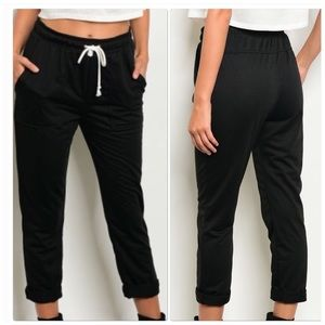 Pants - Black High Waisted Joggers with Drawstring