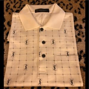Yves Saint Laurent Cream & Black YSL Polo Shirt XL