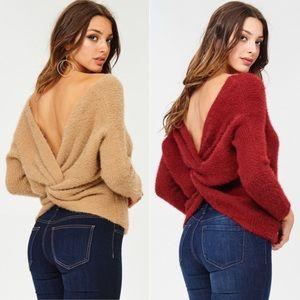 Reversible twist back sweater