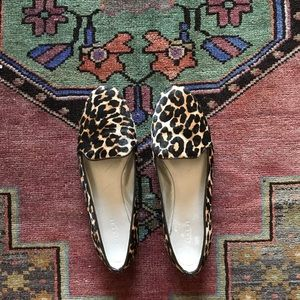 Coach leopard print calf hair flats