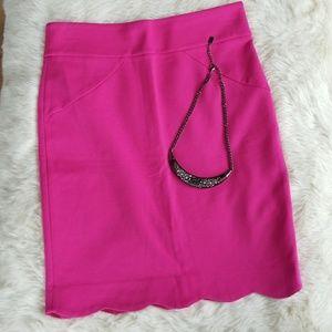 Carmen Marc Valvo Pink Scalloped Skirt