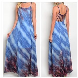 Multicolored Sleeveless Maxi Dress Caged Back
