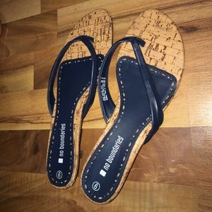 Navy blue heeled flip flops