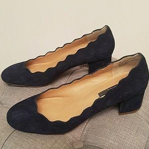 Kensie Scallop Navy Suede block heel shoe
