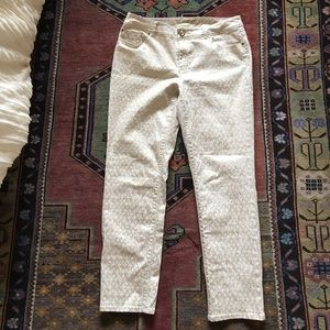 Chicos cream and gold leopard print jeans