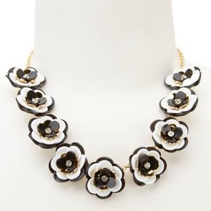 NWOT Kate Spade Black and White Flower Necklace