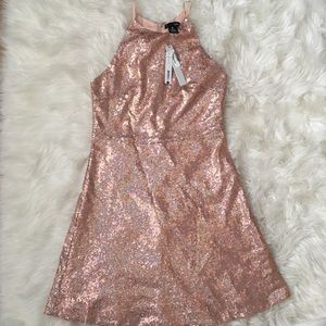 Aqua sequin halter dress