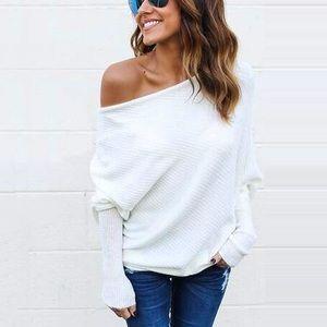 ✨ SALE Off Shoulder Loose Ribbed Knit Sweater Top
